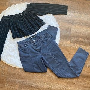 Express Front Stripe Ankle Legging High Rise Jeans